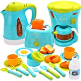 JOYIN Kids Kitchen Pretend Play Toys with Coffee Maker Machine, Kettle, Toaster, Utensils and Cutting Vegetables Cooking…