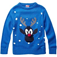 Halloween & Christmas Kidswear Baby Toddler Younger Boys Rudolph Red Nose Reindeer Character Christmas Novelty Knitted Jumper
