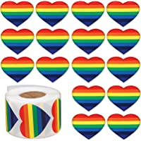(1000 pcs - Heart) - 1000pcs Love Rainbow Ribbon Stickers, Gay Pride 7 Colours Stripes Heart Shaped Roll Tape