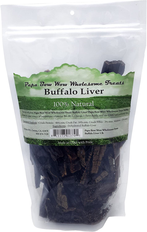 Papa Bow Wow Buffalo Treats for Dogs, Liver 1 lb