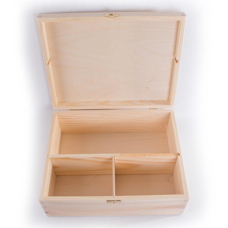 Weihnachtsbox 29,5/x 23,5/x 11/cm unlackiert SearchBox Gro/ße Holzbox mit 3/F/ächern und Verschluss