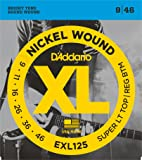 D'Addario EXL125 Nickel Wound Electric Guitar Strings, Super Light Top/ Regular Bottom, 9-46
