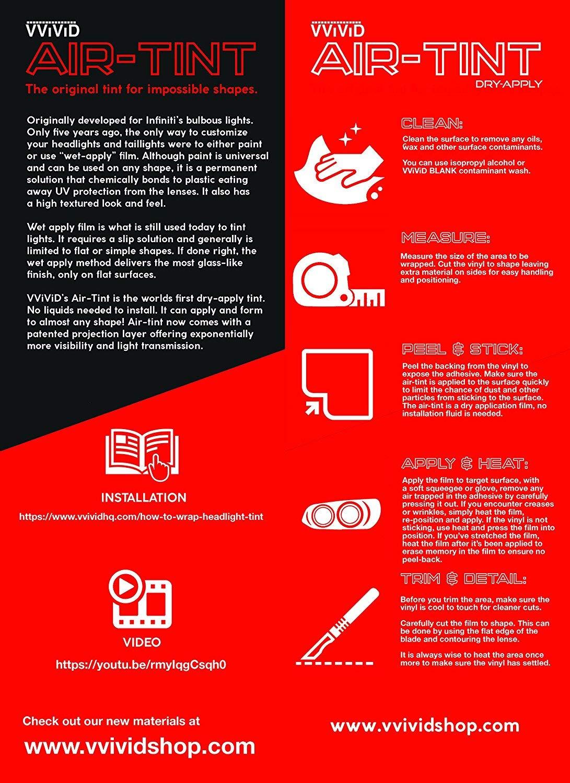 16 Inch x 60 Inch, 2-roll Pack VViViD Smoke Black Gloss Vinyl Headlight Foglight Transparent Wet Tint Wrap Self-Adhesive