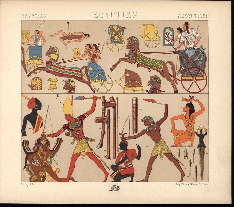 Amazon Com Ancient Egypt Warriors Weapons Chariots C 1870 Antique