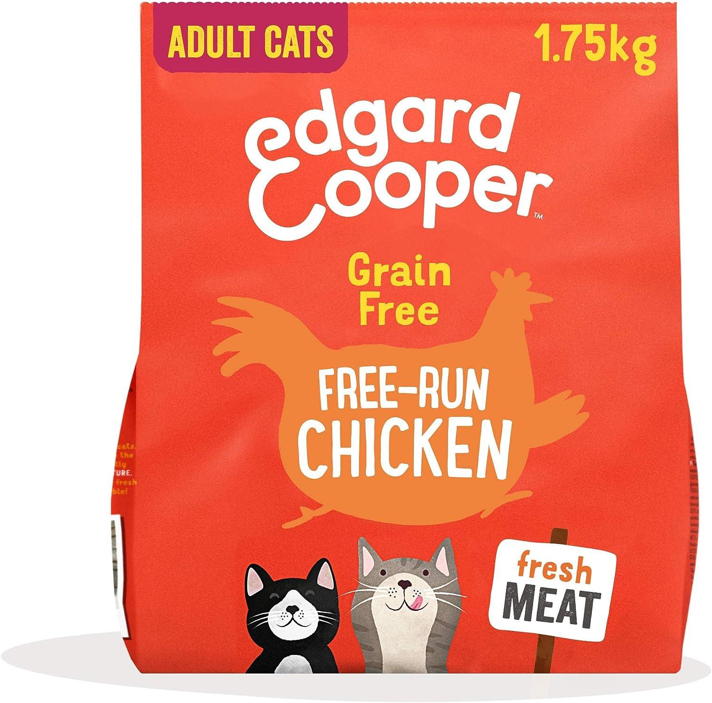 Edgard & Cooper pienso Gatos Adultos SIN Cereales. Comida Natural con Pollo Fresco de Corral bajo en Grasas saturadas, 1.75kg. con antioxidantes Naturales. Apto para Gatos esterilizados