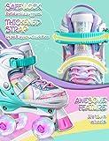 SULIFEEL Rainbow Unicorn 4 Size Adjustable Light up Roller Skates for Girls Boys for Kids - Small