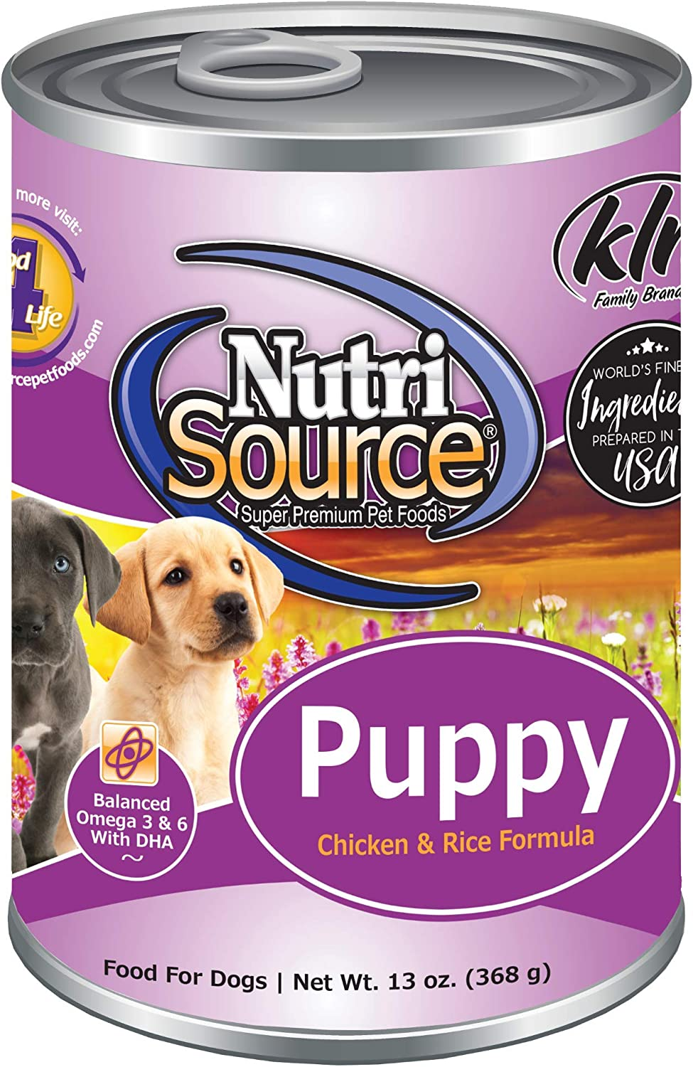 Nutri Source Puppy Chicken & Rice Case of Canned Dog Food 12/13oz