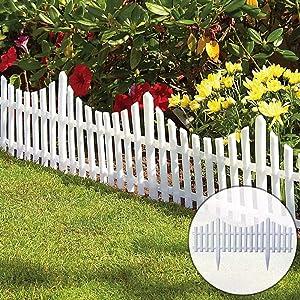CHICIEVE 4 PCS White Plastic Garden Fence Border for Garden,Decorative Landscape Edging Fences,Detachable Grass Lawn Flowerbeds Plant Borders(Length 96 inches)