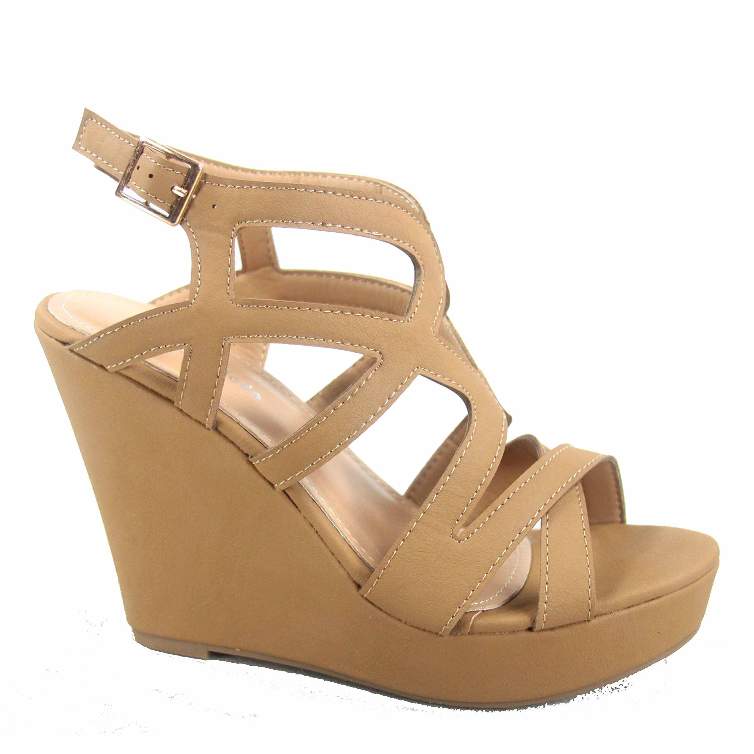 Top Moda Cathy-55 Women's Fashion Strappy Wedge Open Toe Platform Sandal Shoes (8.5 B(M) US, Tan)