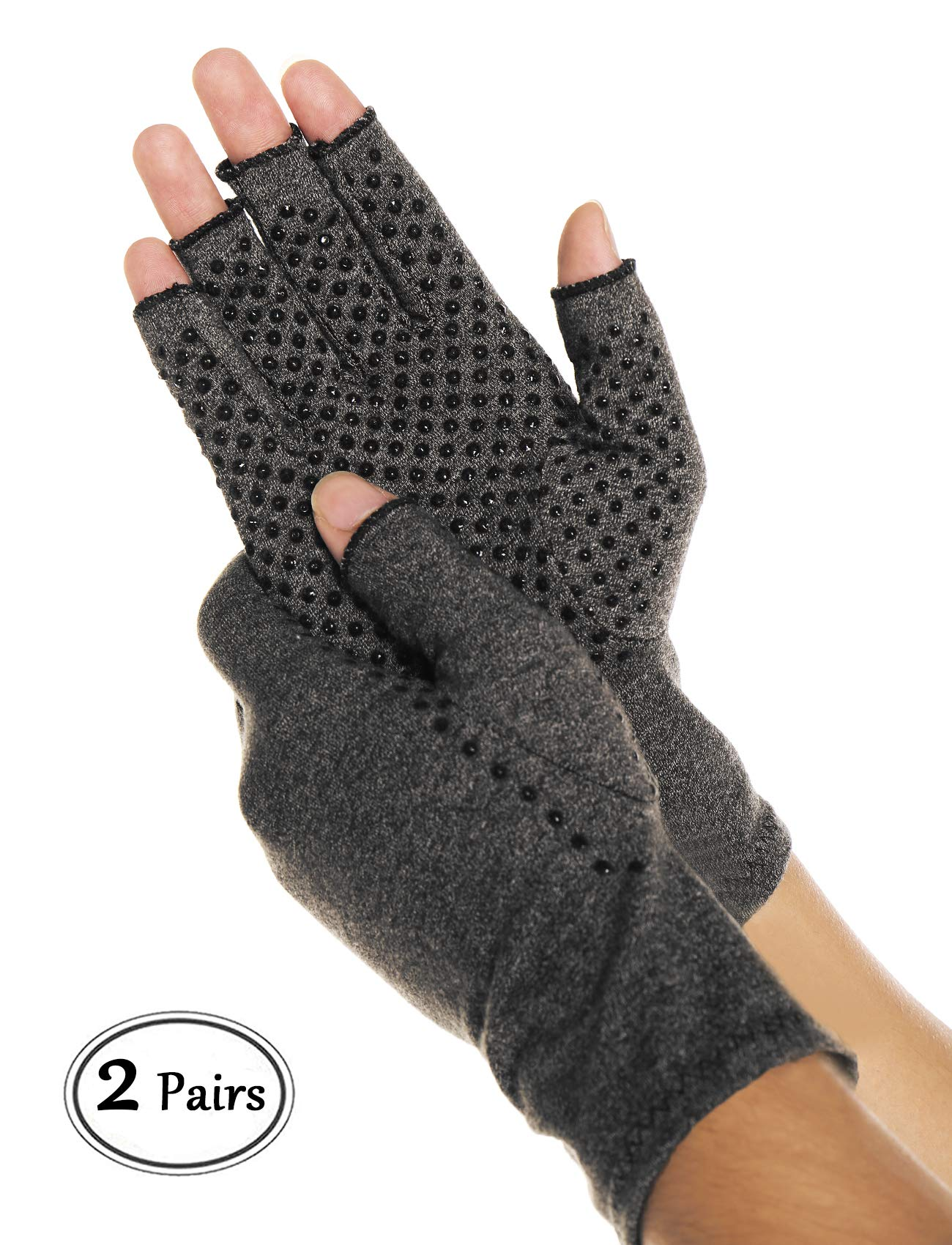 CFR Compression Arthritis Gloves Hand Gloves for Carpal Tunnel Rheumatoid Osteoarthritis Joint Pain Relief - Open Finger Non-Slip Two Pairs,S UPS Post