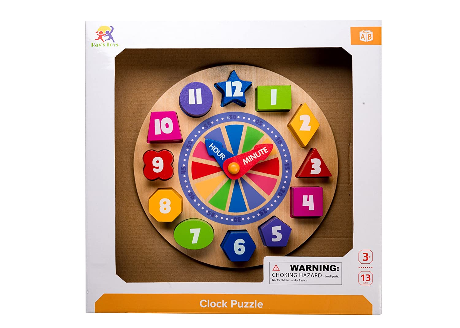 Wood Educational Clock Puzzle With Numbers /& Shapes Rays Toys Wooden Shape Sorting Clock For Children Teach Your Kid To Tell Time Through Fun /& Play 3 Years Old /& Up
