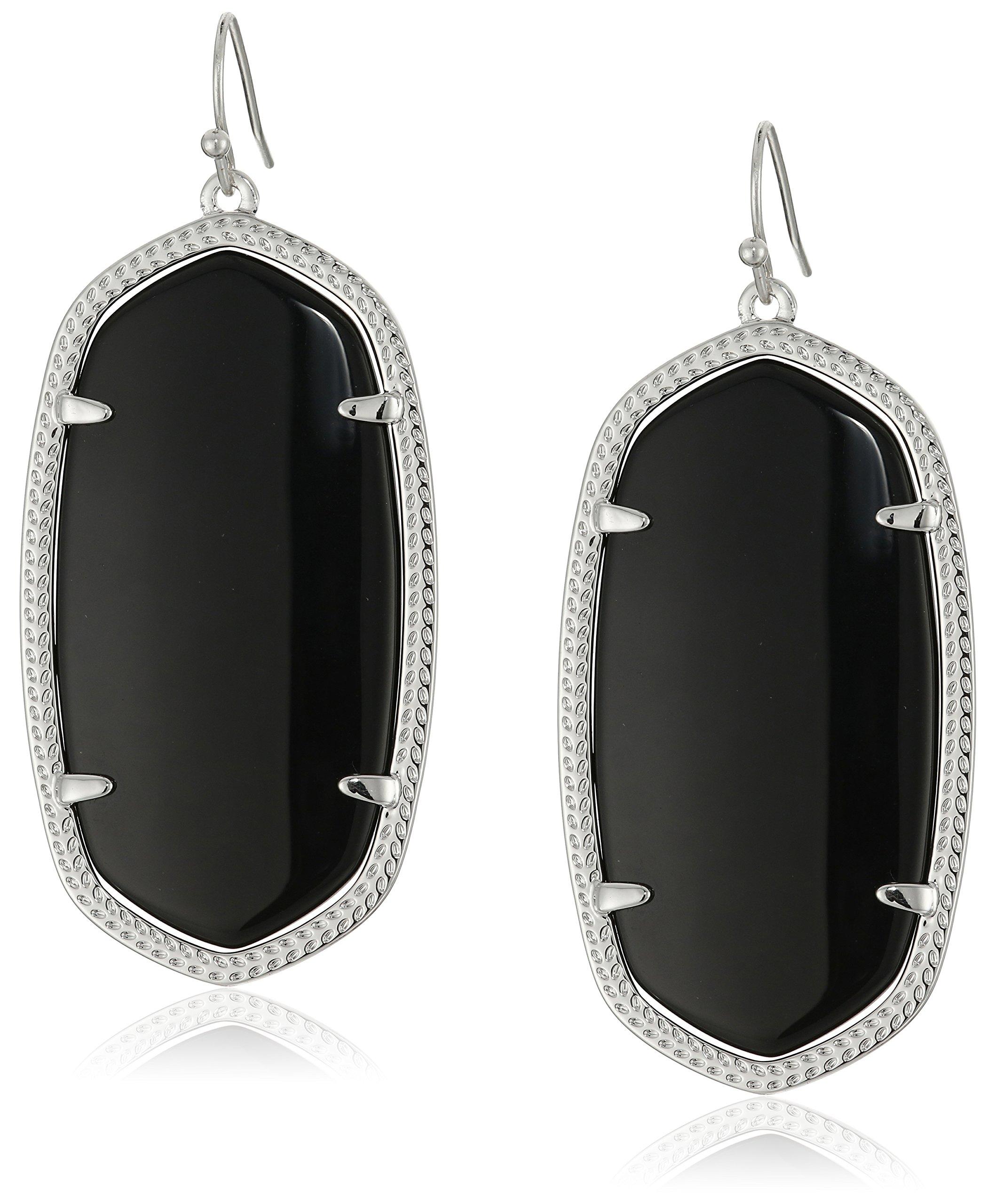 Kendra Scott''Signature'' Danielle Rhodium plated Black Glass Drop Earrings