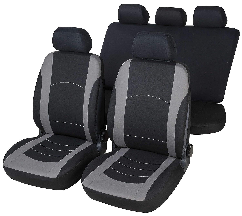 RMG R03W029 coprisedili per A4 fodere auto neri grigi compatibili con sedili dotati di airbag braciolo e sedili posteriori sdoppiabili