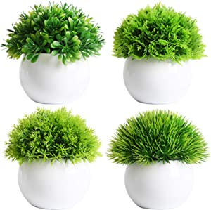 FEILANDUO 4 Pcs Mini Artificial Plants Potted Artificial Ball Shaped Tree Fake Fresh Green Grass in White Plastic Pot for Home Decor (White, Set of 4)