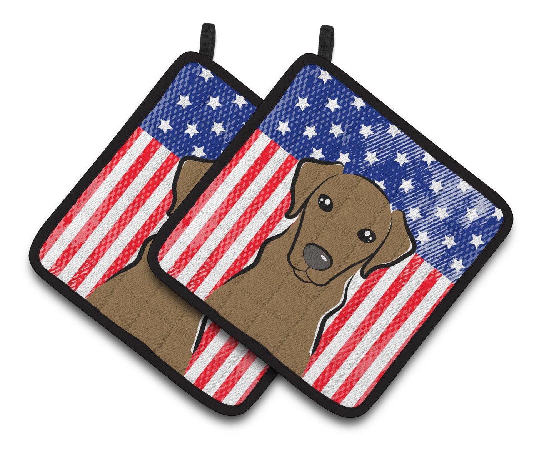 Carolines Treasures American Flag /& Chocolate Labrador Pair of Pot Holders BB2164PTHD 7.5HX7.5W Multicolor