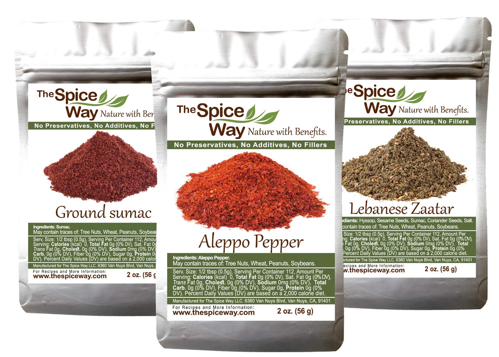 The Spice Way Essential Bundle - Premium Crushed Aleppo pepper Flakes, Lebanese Zaatar with Hyssop and Pure 100% Ground Sumac Bundle (3 packs of 2 oz each) ...