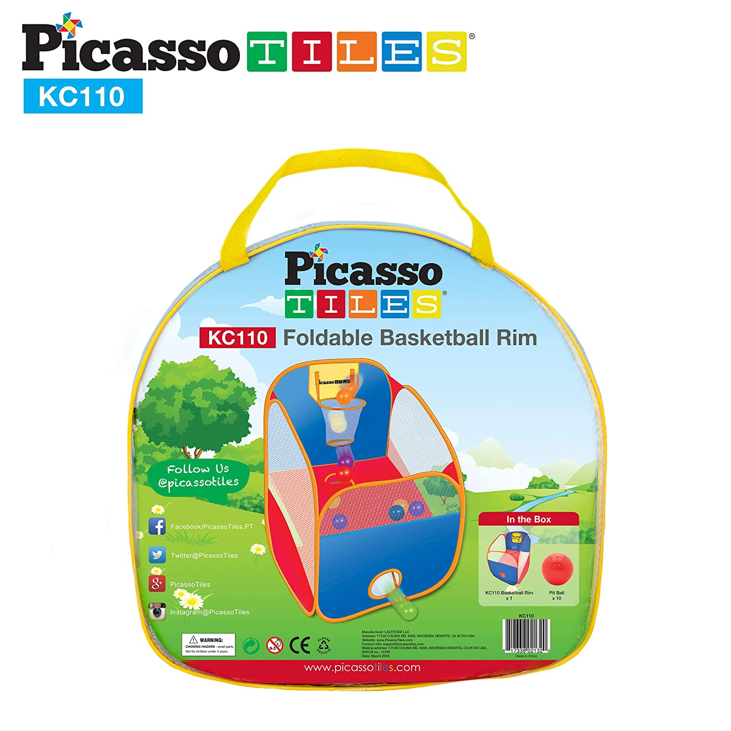 PicassoTiles Next KC110 24 x 34 Foldable Portable Standing Kids Basketball Hoop w// 10 Colorful Pit Balls and Zippered Storage Bag for Kids and Toddlers Indoor//Outdoor Play