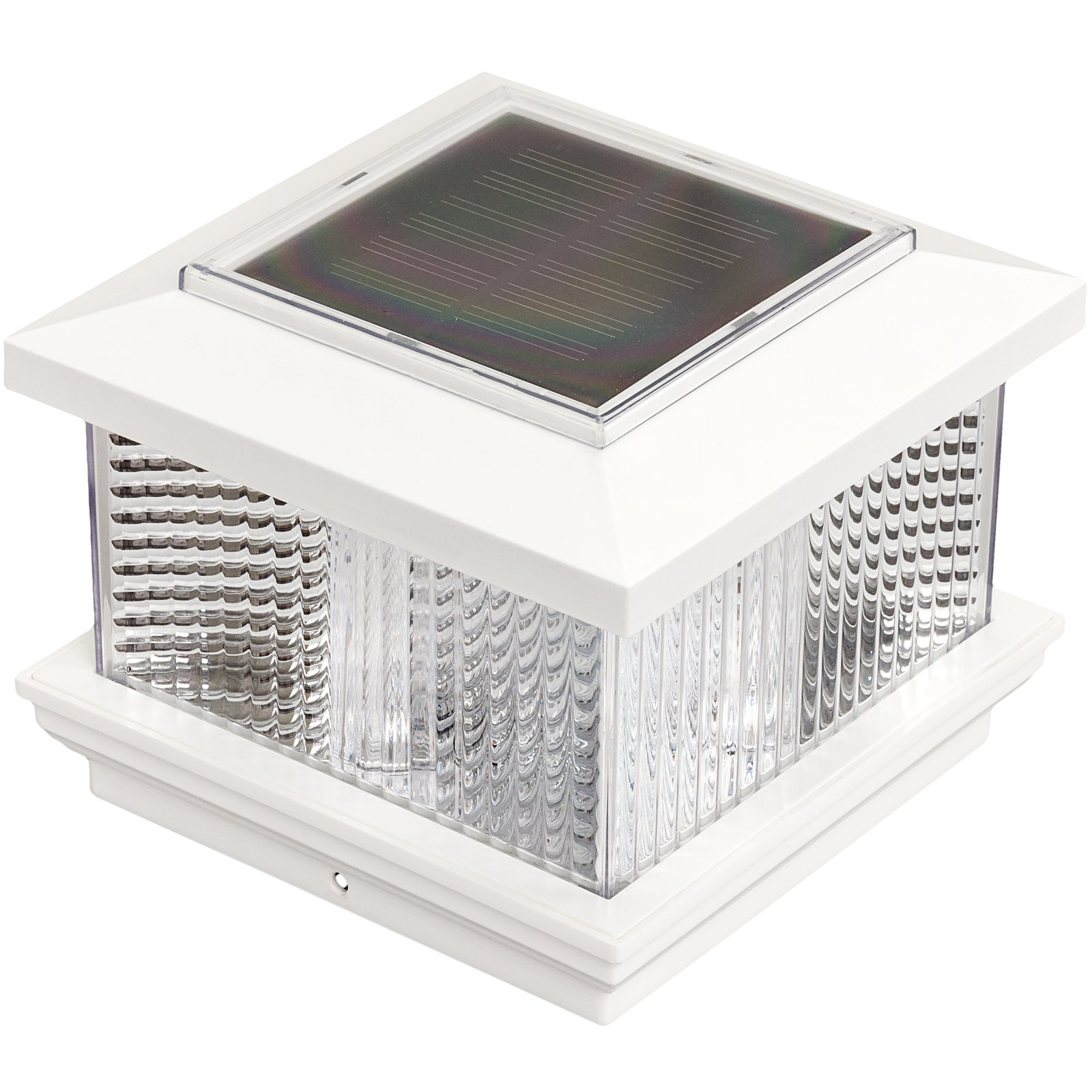 GreenLighting Solar LED Post Cap Light for 4 x 4 Vinyl Posts w/ Wood Post Adapter (White)