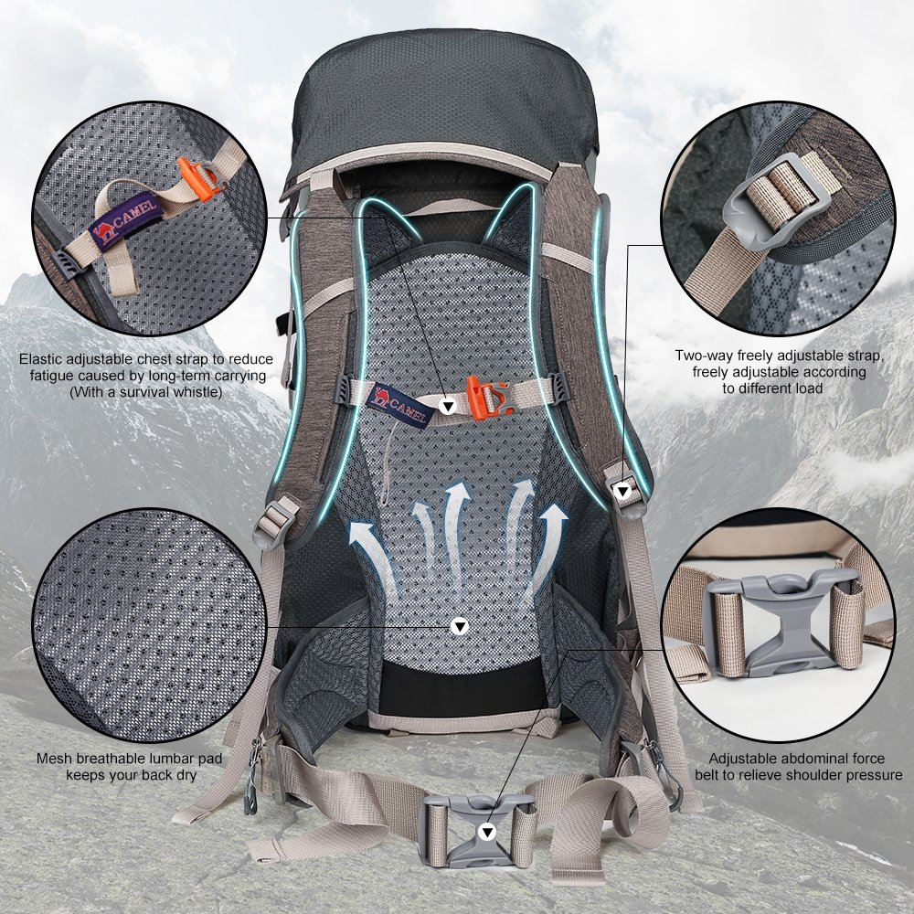 CAMEL CROWN 45L Internal Frame Backpack for Camping 4f86648a9c9bf