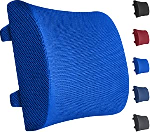 Everlasting Comfort 100% Pure Memory Foam Back Cushion - Lumbar Support Back Pillow - Fits Car Seat and Office Chair - Lower Back Pain Relief (Blue)