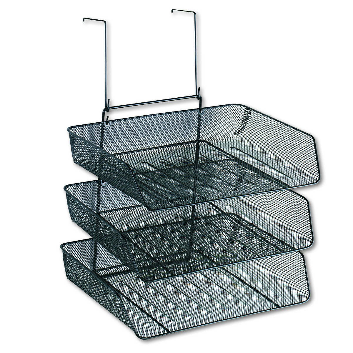 Fellowes Mesh Partition Additions Triple Tray, Side Load, Letter Size, Black (75902)