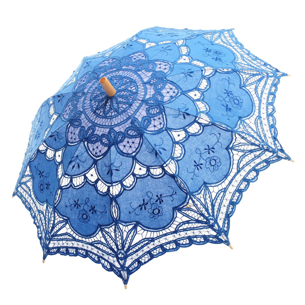 Topwedding Handmade Battenburg Lace Embroidered Wedding Umbrella Parasol, Blue