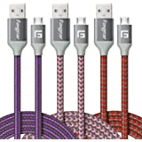 Micro USB Cable, 3 Pack (6ft/1.83M) Fasgear Nylon Braided Fast Charging Cable Compatible with Galaxy S7/S6 Edge, HTC and More (Purple,Red,Pink)