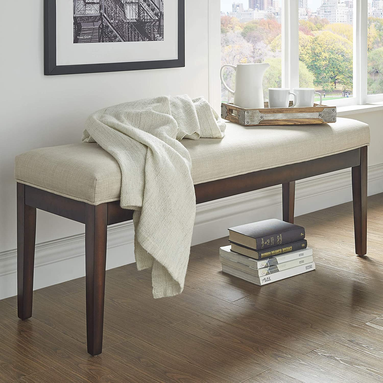 Linen bench entryway furniture beige made from rubberwood foam construction cushion wood elements upholstery wood framing bundle with our expert