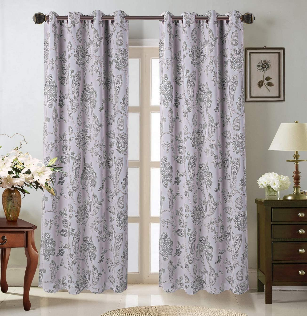 Comfy Home Furnishings 2 Piece Hotel Quality Printed Blackout Thermal Insulated Window Curtain Set Floral, Silver, 55 X 84