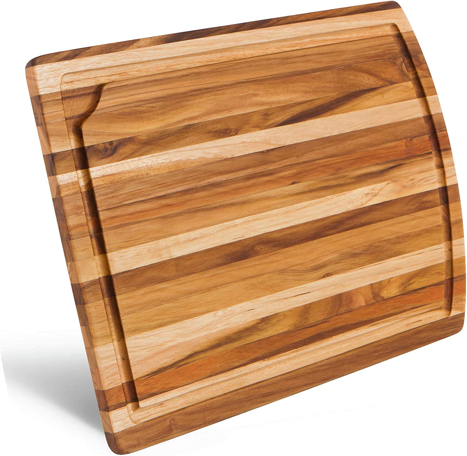 Natural Teak Wood Cutting Board with Juice Groove | Medium Kitchen Chopping Board For Daily Use - 15 x 10¾ x ¾ inch | Cheese Serving Tray - Premium Edition