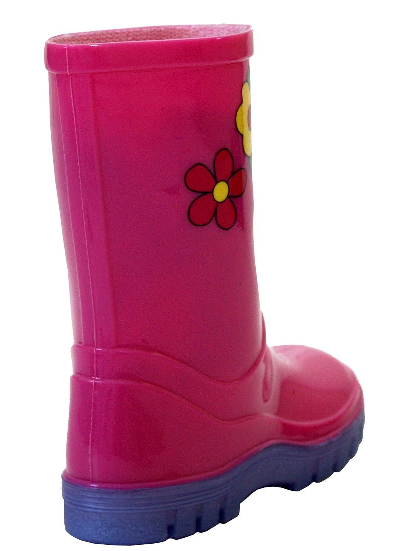 Pink Girls Boys Kids Wellies Wellington Boots Child Junior Rain Boots All Sizes