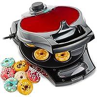 Andrew James Edelstahl Flip & Serve Donut Maker in Rotmetallic mit variabler Temperaturkontrolle