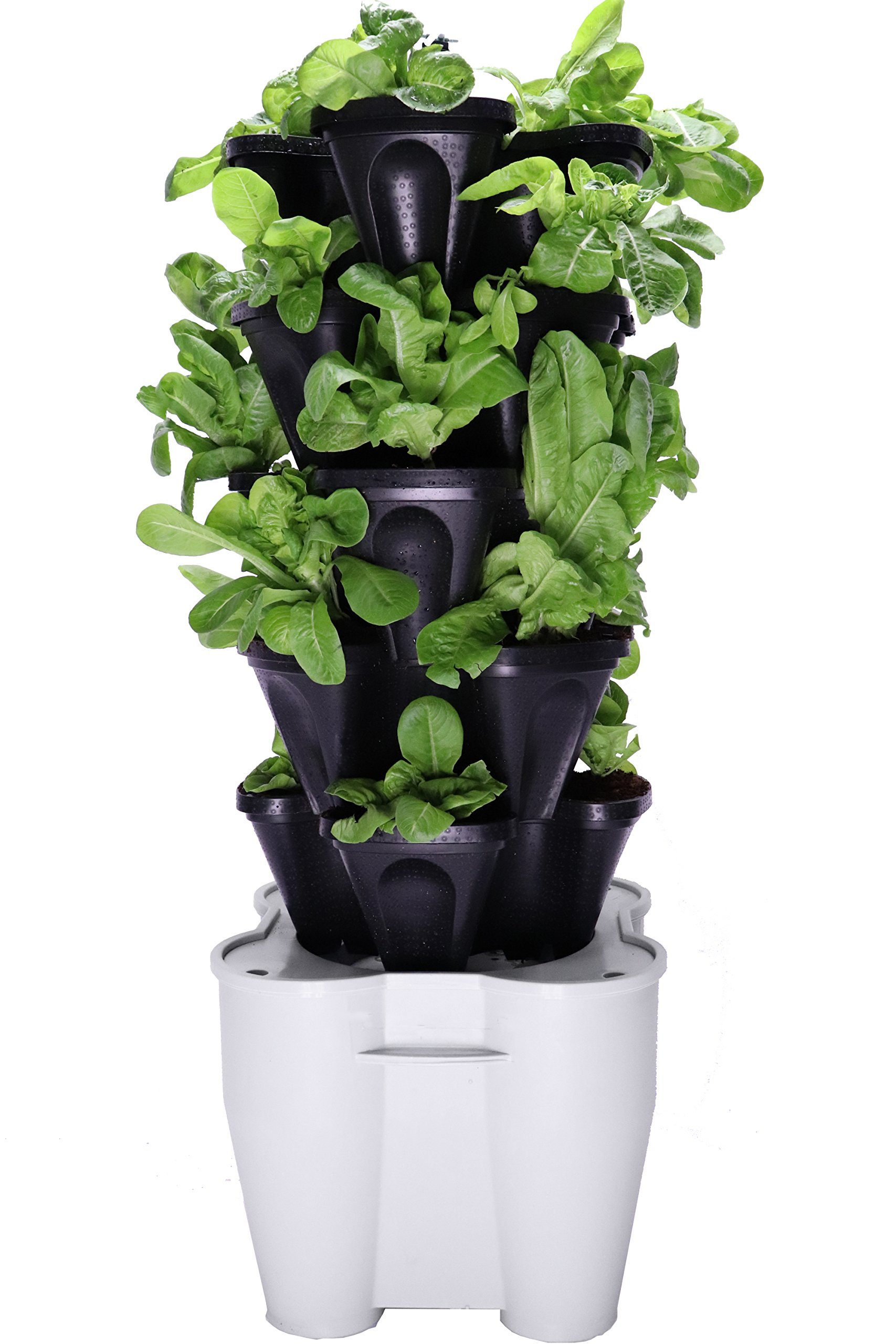 Smart Farm - Automatic Self Watering Garden - Grow Fresh Healthy Food Virtually Anywhere Year Round - Soil or Hydroponic Vertical Tower Gardening System By Mr Stacky (Standard Kit, Black) by Mr. Stacky