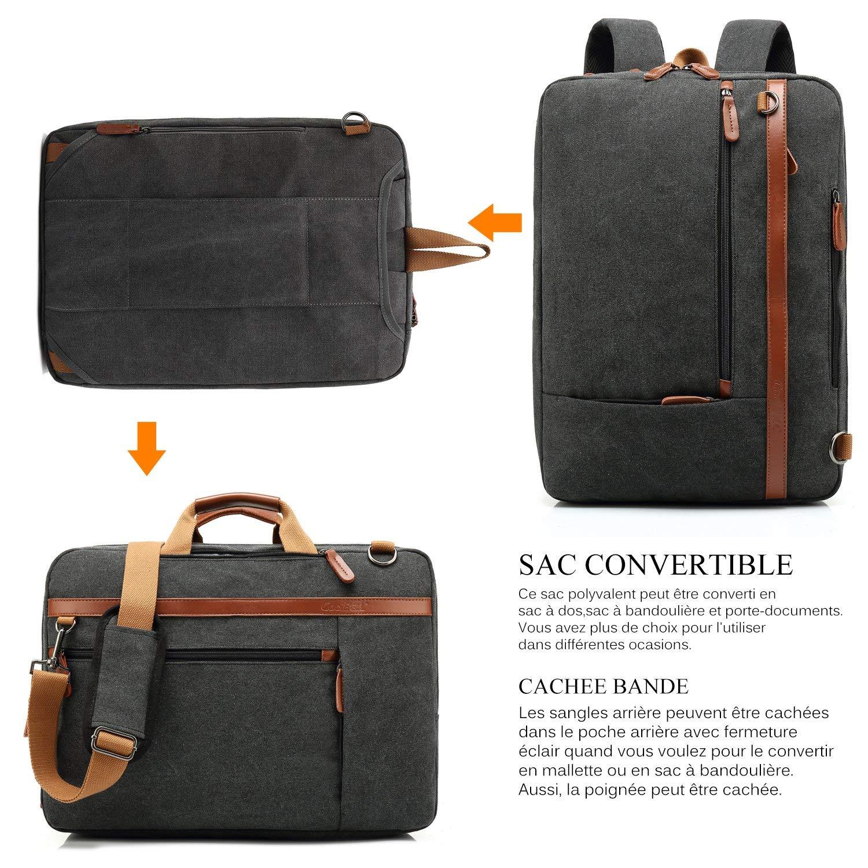 ec58943c0e Srotek 17,3 Pouces Sacoche Converitable pour Ordinateur Portable Sac à Dos  Business Homme Sac Messager ...