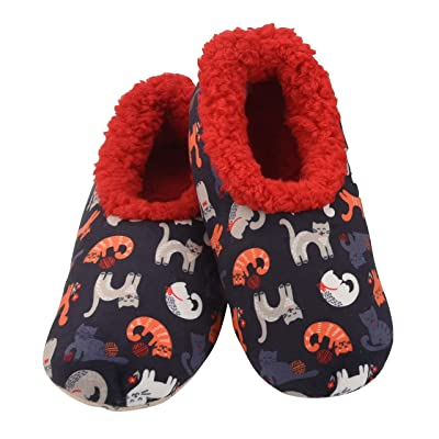 Snoozies Tried & True W Slippers | Cats | Medium Red | Slippers