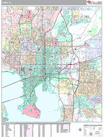 Amazon.com: Tampa, FL City Wall Map (Premium Style, Laminated, 48x64 on