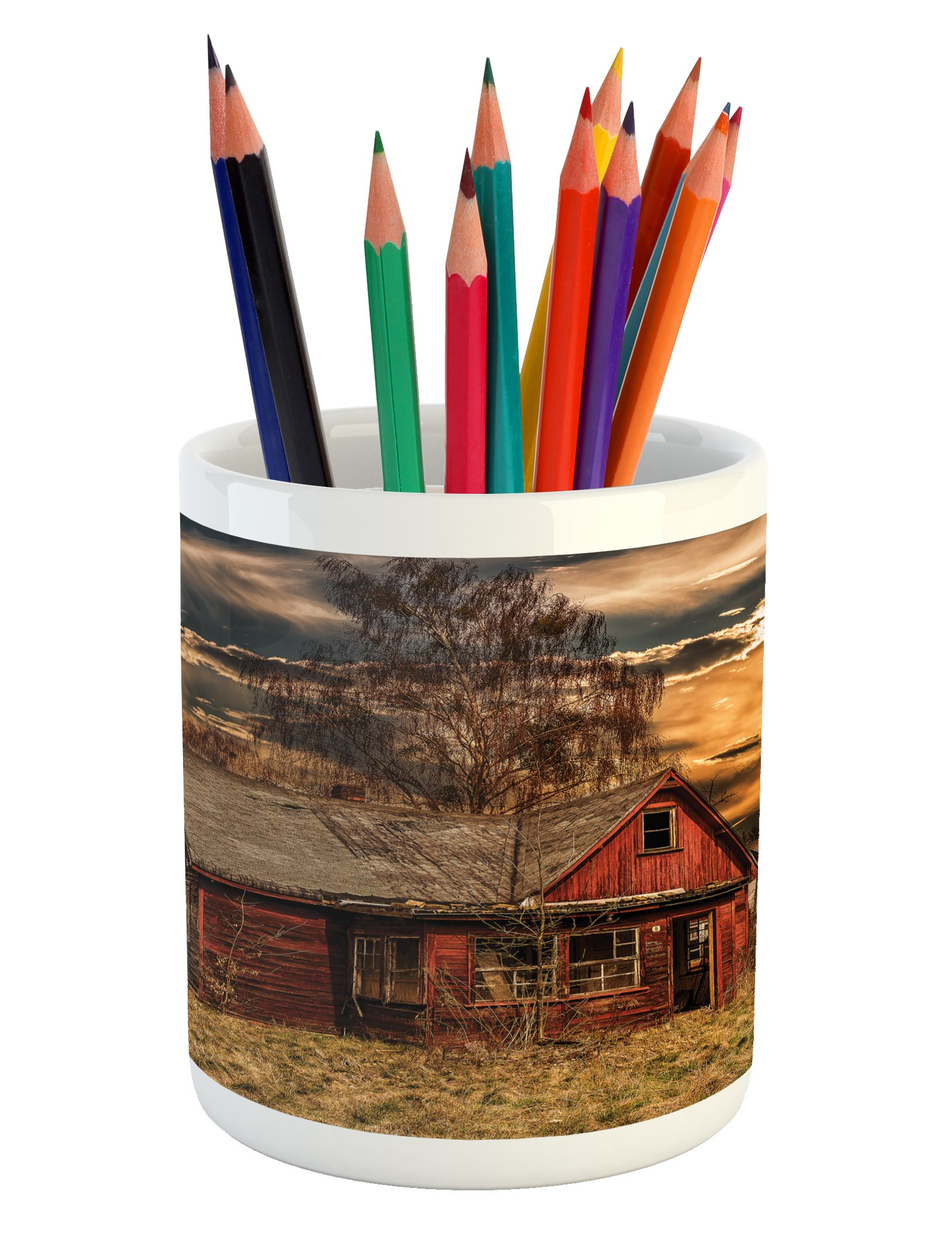 Ambesonne Scenery Pencil Pen Holder, Scary Horror Movie Themed Abandoned House in Pale Grass Garden Sunset Photo Print, Printed Ceramic Pencil Pen Holder for Desk Office Accessory, Multicolor
