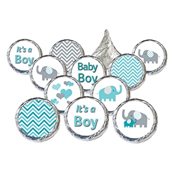Elegant Teal Blue And Gray Elephant Boy Baby Shower Stickers (Set Of 324)
