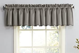"Sun Zero Barrow Energy Efficient Rod Pocket Curtain Valance, 54"" x 18"", Gray"