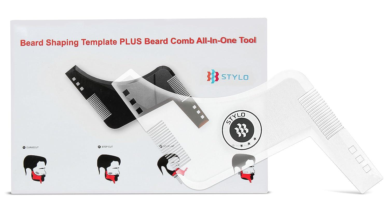 Modeladora de barba Stylo Súper Alta Calidad Transparente - Guía de cabello y barba para el kit de arreglo personal para hombres - Plantilla de perfilado de barba de plástico - Plantilla para dar forma y aseo de barba. Styrenic Solutions