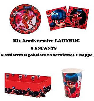 Set Completo Prodigiosa Ladybug Decoración Cumpleaños 8 Niños (8 Platos, 8 Tazas, 20 servilletas, 1 Mantel) Fiesta