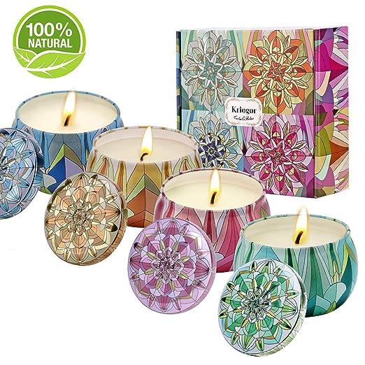 Velas Aromáticas Perfumadas, Juego de Regalo de Vela 4oz Jazmín, Leche, Rosa, Lirio Cera de Soja para Regalo Yoga Baño Dormitorio