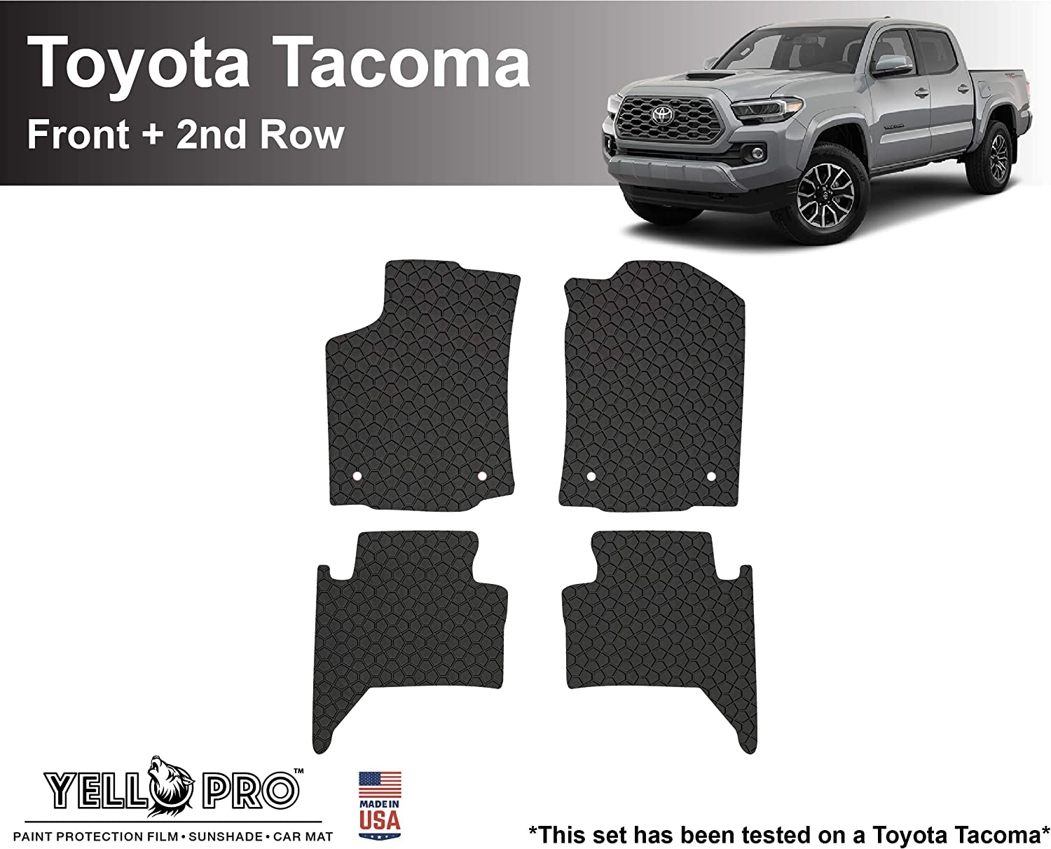 4pcs YelloPro Auto Custom fit Heavy Duty Car Floor Mat Accessories for 2018 2019 2020 Toyota Tacoma Double Cab All Weather Anti-Slip Black Rubber - Front /& 2nd Row Made in USA