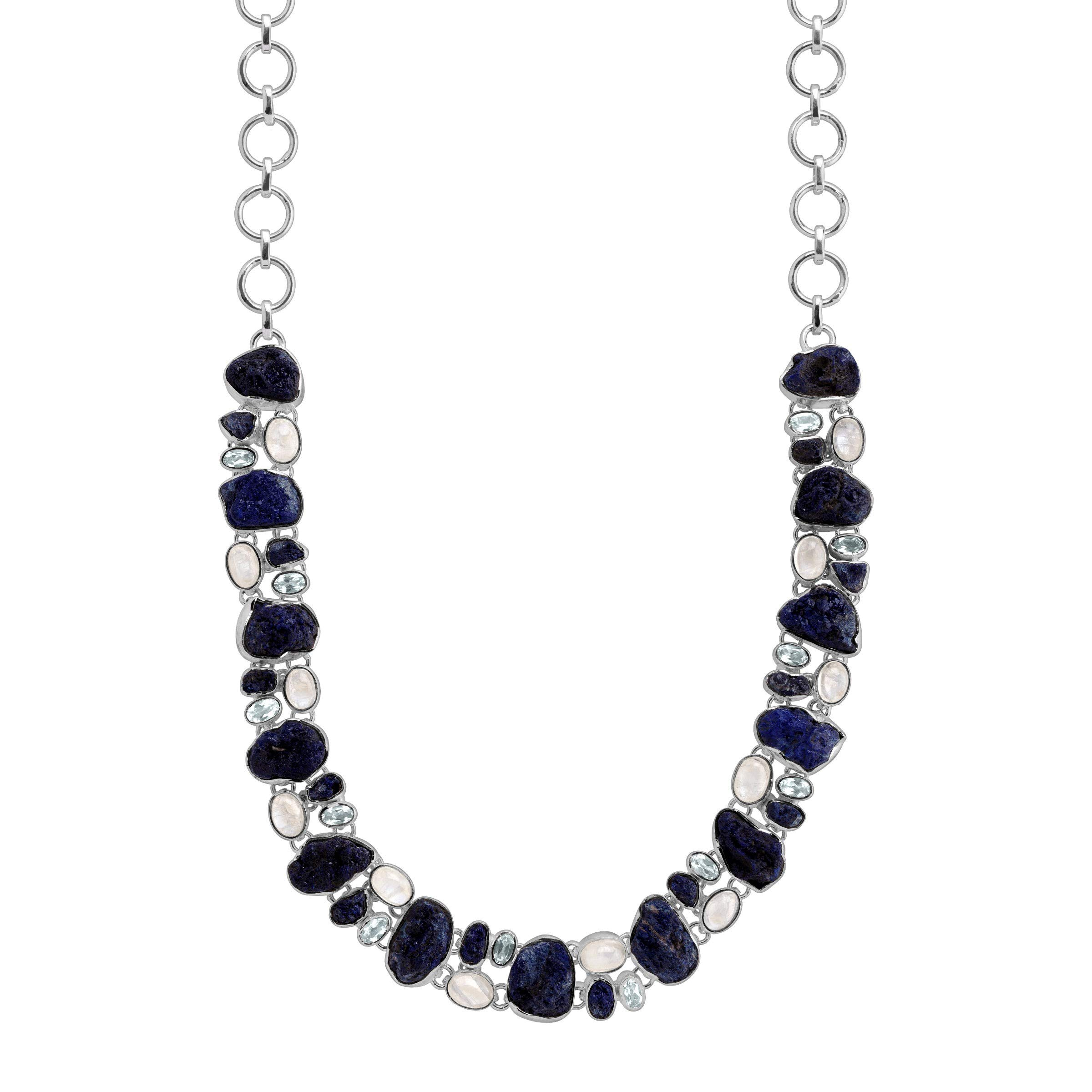 Silpada 'Pacific' Natural Mixed Blue Stone Necklace in Sterling Silver by Silpada