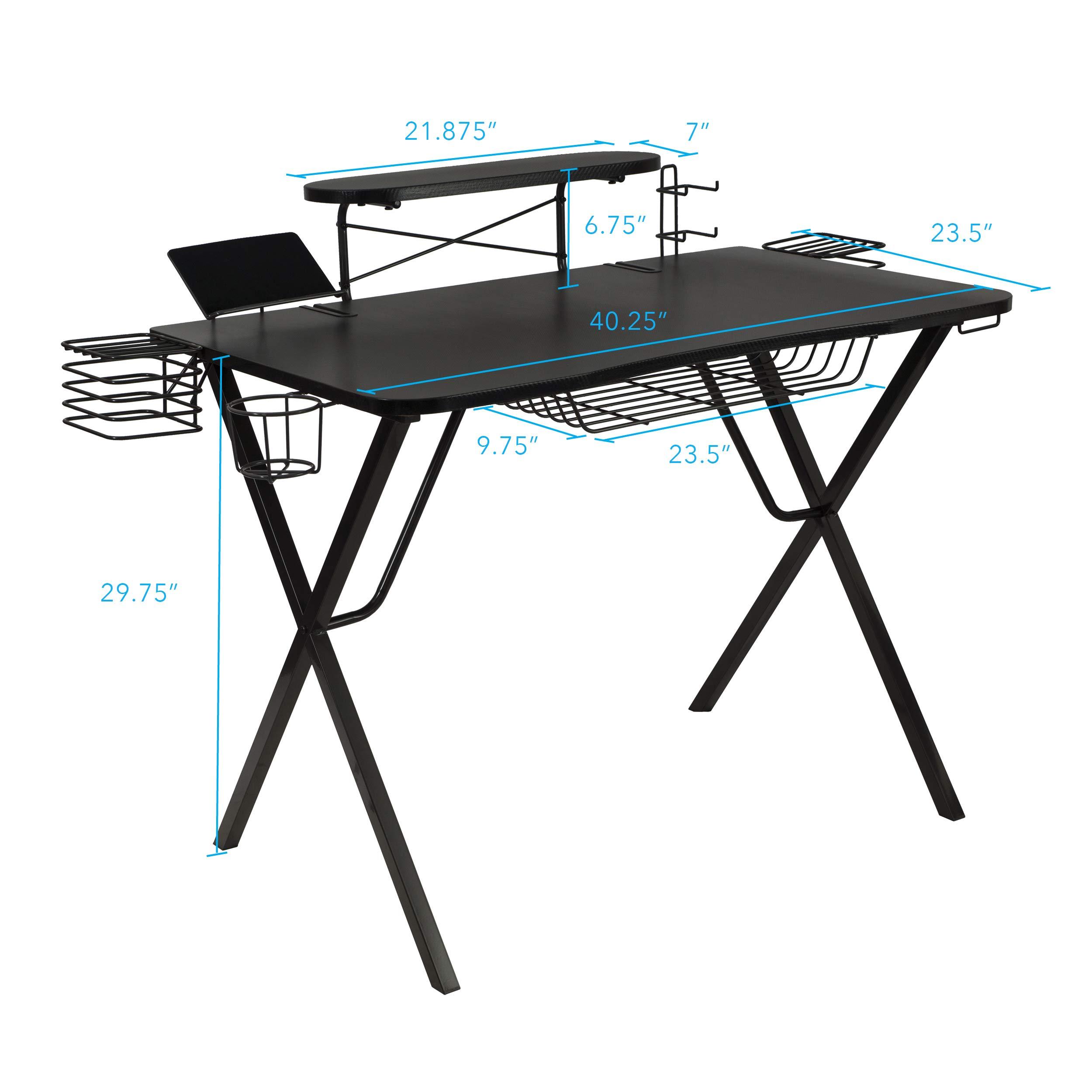 Atlantic Gaming Original Gaming-Desk Pro – Curved-Front, 10 Games, Controller, Headphone & Speaker Storage, 40.25×23.5…