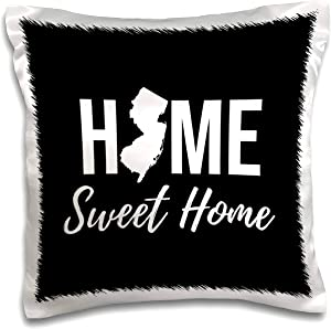 3dRose Stamp City - typography - Home Sweet Home. New Jersey state. Black background. - 16x16 inch Pillow Case (pc_324146_1)