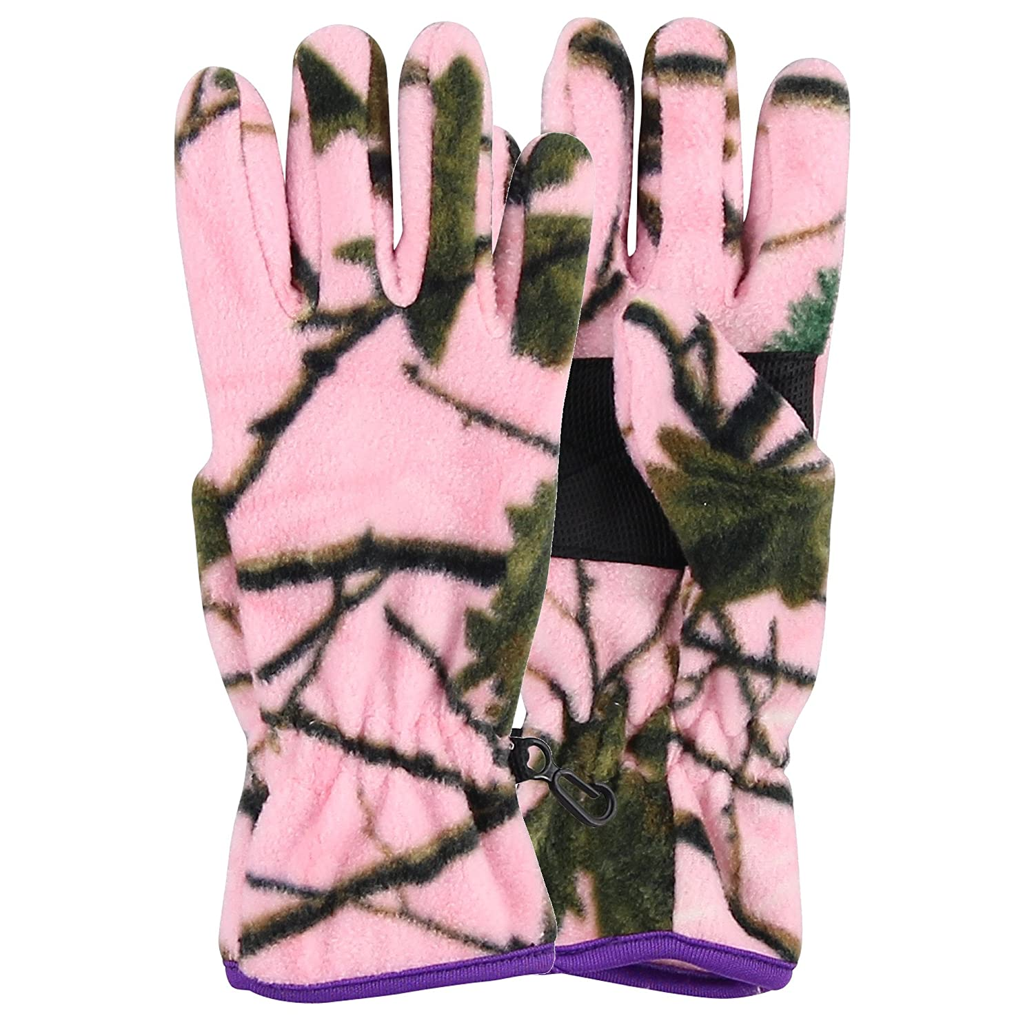 Women's Fleece Pink Camoflage Winter Gloves (Pink, Medium) Grand Sierra