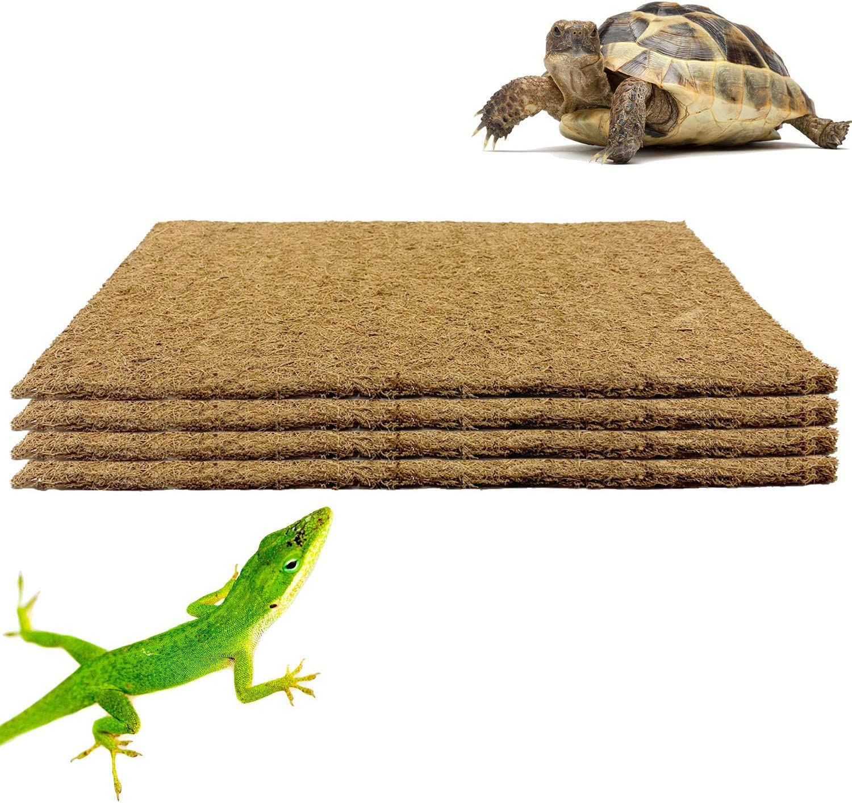 PURPLE STAR 1N 4 Packs Pet Terrarium Liner Reptile Mat-16X10 Inch Natural Coconut Fiber Substrate Mat, Coco Fiber Liner for Lizard Chamelon Turtle Snake Bearded Dragon Iguana Bed Mat