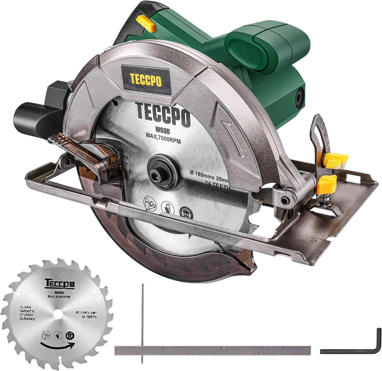 Sierra Circular, TECCPO Profesional 1200W 5800RPM Sierra Circular Eléctrica, con Hoja de 185 mm 24 Dientes, Profundidad de Corte 63 mm (90°), 45 mm (45°), Guía de Metal, Motor de Cobre Puro -TACS22P