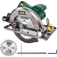 Sierra Circular, TECCPO Profesional 1200W 5800RPM Sierra Circular Eléctrica, con Hoja de 185 mm 24 Dientes, Profundidad de Corte…